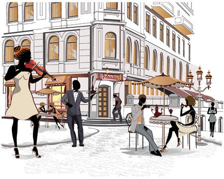 Serie van de straten met mensen in de oude stad, straatmuzikanten Vector Illustratie