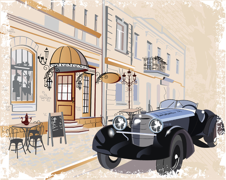 old city: Series of vintage backgrounds decorated with retro cars and old city streets views. Hand drawn Vector Illustration.