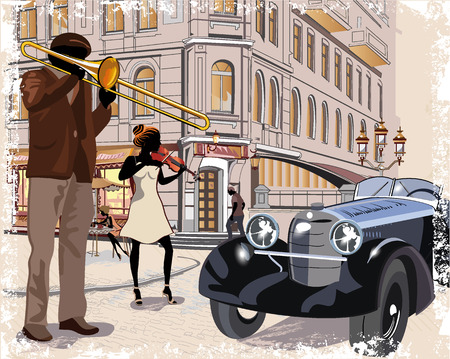 outdoor advertising: Series of vintage backgrounds decorated with retro cars, musicians, old town views and street cafes. Hand drawn Vector Illustration. Illustration