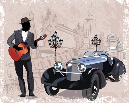 old street: Series of vintage backgrounds decorated with retro cars, musicians, old town views and street cafes. Hand drawn Vector Illustration. Illustration