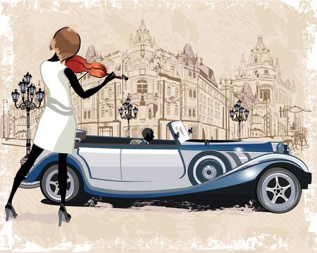 Reeks van vintage achtergronden versierd met retro auto's en oude uitzicht op de stad straat. Straatmuzikanten. Hand getrokken Vector Illustratie.