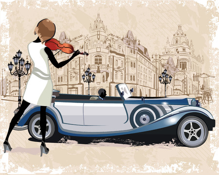 retros: Serie de antecedentes de época decoradas con los coches retro y antiguos vistas a la calle de la ciudad. Músicos de la calle. Dibujado a mano ilustración vectorial.