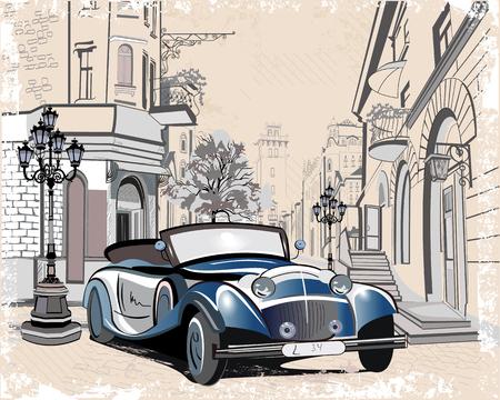 Serie de antecedentes de la vendimia adornado con coches retro y calles de la ciudad vieja vistas. Dibujado a mano ilustración vectorial. Ilustración de vector