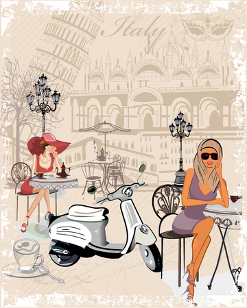 sights: Fashion background decorated with girls drinking coffee, the Italian sights, a motorbike, a cup of coffee.