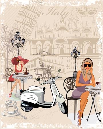 Fond de mode décoré avec des filles de boire du café, les sites italiens, une moto, une tasse de café. Banque d'images - 47252856