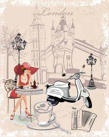 Fashion background decorated with girls drinking coffee, the London sights, a motorbike, a cup of coffee.