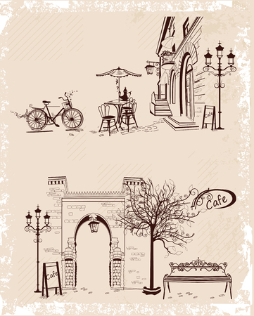 house series: Series of backgrounds decorated with old town views and street cafes. Hand drawn Vector Illustration.