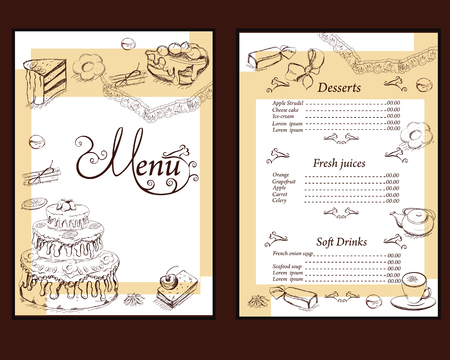 biscuit: Background with sweets and cakes for menu design. Hand drawn illustration for menu design, brochures, cards etc.