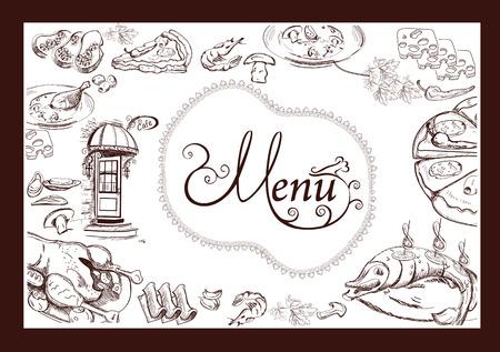 cafe bar: Hand drawn food illustrations for restaurant or cafe menu. Background for menu design, brochures, cards etc. Illustration