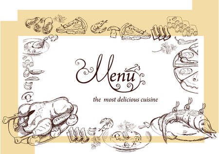 plato de pescado: Dibujado a mano ilustraciones de alimentos para el restaurante o cafetería menú. Fondo para el diseño de menús, folletos, tarjetas, etc.
