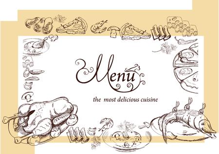 spices: Hand drawn food illustrations for restaurant or cafe menu. Background for menu design, brochures, cards etc. Illustration