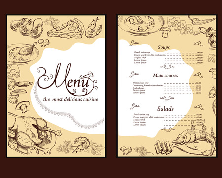restaurant  menu: Hand drawn food illustrations for restaurant or cafe menu. Background for menu design, brochures, cards etc. Illustration