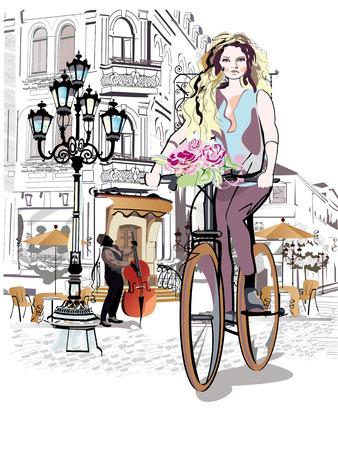 bicicleta: Moda niña monta una bicicleta por las calles de la ciudad vieja. Dibujado a mano ilustración.