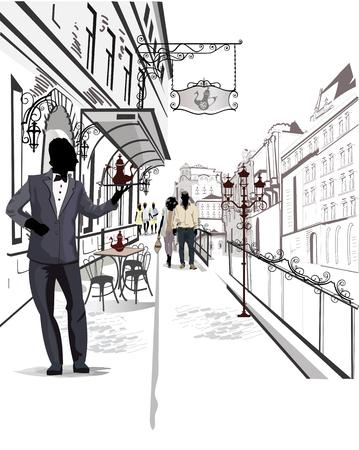 arbol de cafe: Serie de las calles con la gente en la ciudad vieja