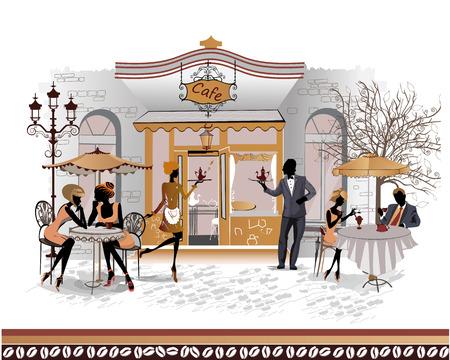 ristorante: La serie di strade con le persone nella città vecchia. I camerieri servono i tavoli. Caffè Street. Vettoriali