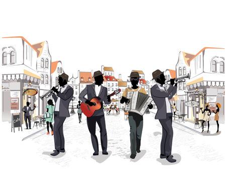 Reihe von den Straßen mit Musikern und Passanten in der alten Stadt. Trumpeter, Akkordeonist, Gitarrist.