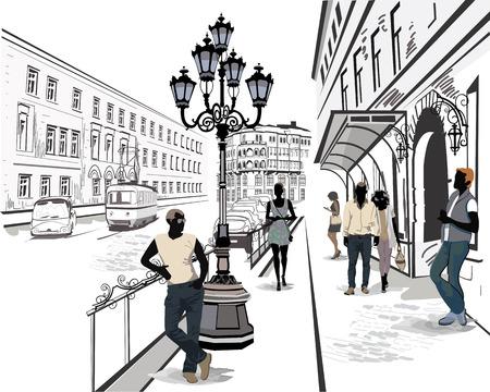 building: Serie de la calle con la gente y los músicos de la ciudad vieja