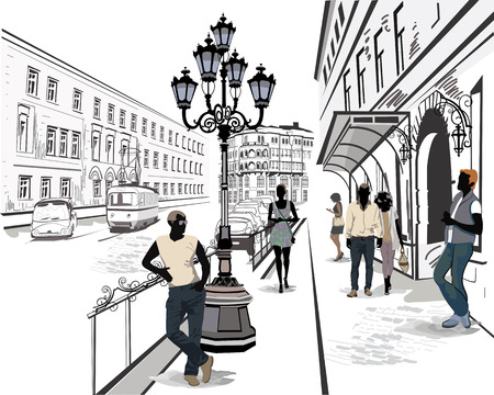 building sketch: Series of the streets with people and musicians in the old city