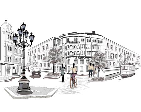 Serie van de straat met mensen en muzikanten in de oude stad