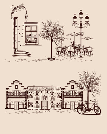 old town: Series of backgrounds decorated with old town views and street cafes. Illustration