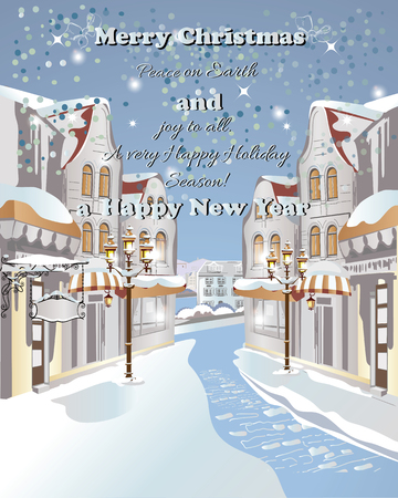 snowcovered: Christmas greeting card. Snow-covered street in the old town. Illustration