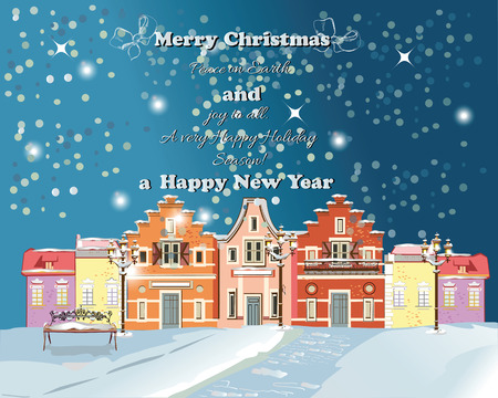 Christmas greeting card. Snow-covered street in the old town. Vector Illustration.