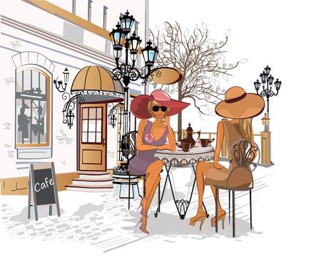 pareja comiendo: las chicas de moda en el café de la calle. Vectores
