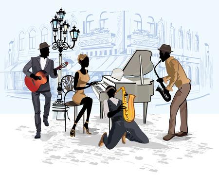 Série des rues avec des musiciens de la vieille ville Banque d'images - 56758346