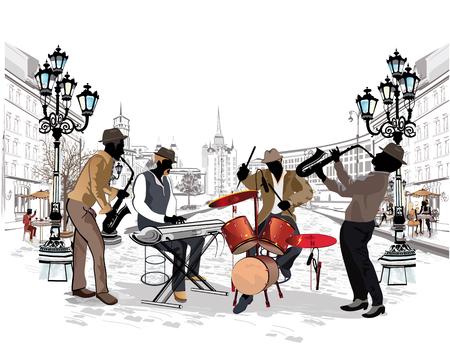 Seria z muzykami ulic w starej części miasta. Ilustracje wektorowe