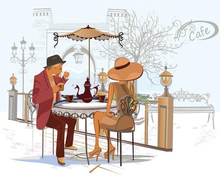 pareja comiendo: Serie de gente que bebe café en el café de la calle Vectores
