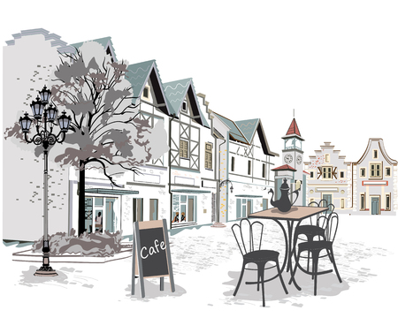 old city: Series of street cafes in the old city