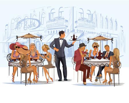 Reeks van mensen drinken koffie in cafe Stock Illustratie