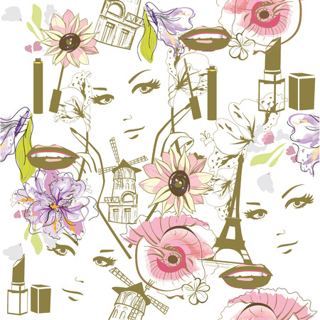nails: Fashion background with watercolor flowers, faces, cosmetics and the Eiffel tower. Illustration