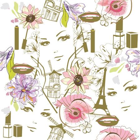 uñas pintadas: Fondo de la manera con las flores de la acuarela, caras, cosméticos y la torre Eiffel.