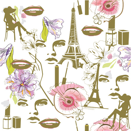 france painted: Fashion background with watercolor flowers, faces, cosmetics and the Eiffel tower. Illustration