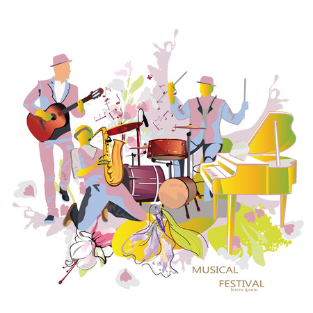 bands: Abstract musical background with musicians and flowers. Saxophonist, guitarist, drummer.