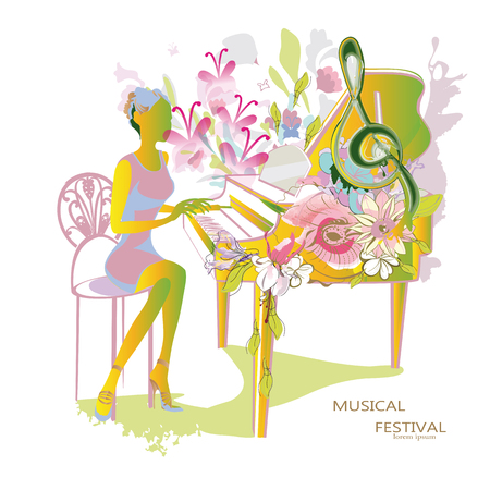 musical background: Abstract musical background with a musician, a grand piano, flowers and a treble clef.