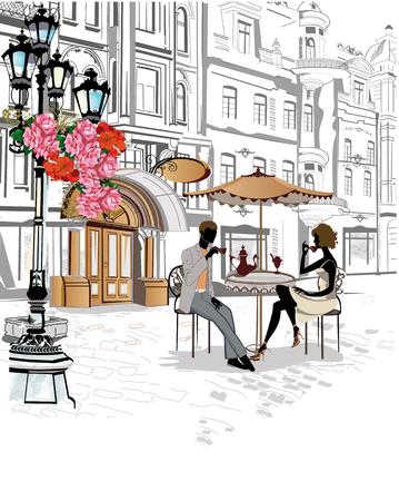Mann und Frau sitzen und Kaffee trinken in einem Straßencafé. Hintergrund mit Blumen geschmückt, Blick auf die Altstadt. Vektorgrafik