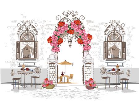 Hintergrund mit Blumen geschmückt, Blick auf die Altstadt und Straßencafé. Vektor-Illustration Hand gezeichnet.