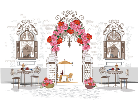 Background decorated with flowers, old town view and street cafe. Hand drawn Vector Illustration.