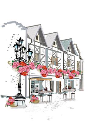 Hintergrund mit Blumen geschmückt, Blick auf die Altstadt und Straßencafé. Hand gezeichnet Illustration.