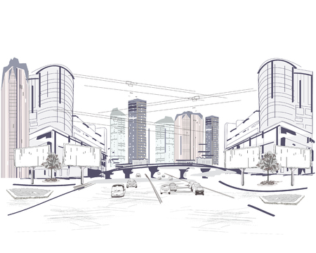 Series of modern city views with skyscrapers and shopping centers. Hand drawn illustration.