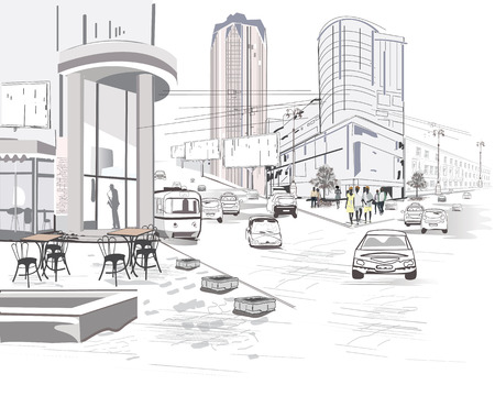 Series of modern city views with skyscrapers and shopping centers. Hand drawn vector illustration.