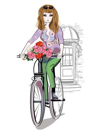 Moda niña monta una bicicleta por las calles de la ciudad vieja. Dibujado a mano ilustración. Ilustración de vector