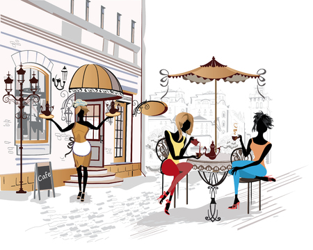 Series of the streets with people in the old city. Waiters serve the tables. Street cafe. Vectores