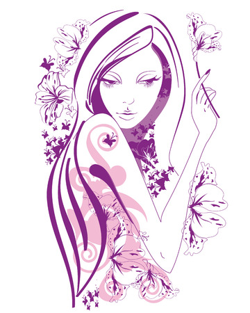 Abstract beautiful woman with flowers and butterflies in lines. A beautiful girls face. Illustration