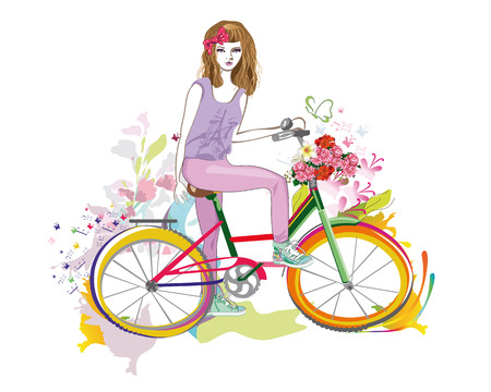 beautiful girl: Fashion girl rides a bicycle the streets of the old town. Hand drawn illustration. Illustration