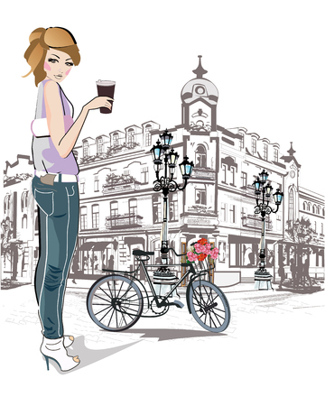 lady shopping: Fashion young girl drinking coffee in the street of old city. Illustration