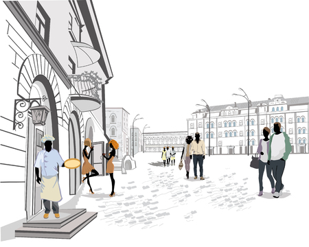 personas en la calle: Serie de las calles con la gente en la ciudad vieja. Los camareros sirven las mesas. Café de la calle.