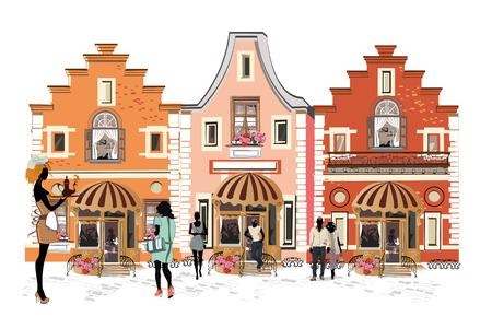Serie van de straten met mensen in de oude stad. Koffie van de straat.
